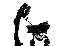 one  woman prams holding baby kissing silhouette on white background