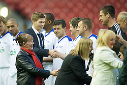 LIVERPOOL, ENGLAND - Thursday, May 14, 2009: Liverpool's captain Steven Gerrard MBE meets the All Stars players during the Hillsborough Memorial Charity Game at Anfield. (Photo by David Rawcliffe/Propaganda)