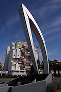 Israel, Ashkelon, A monument sculpted by the artist Yigal Tumarkin, to commemorate fallen soldiers from the city