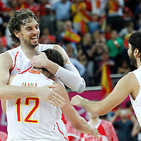 10 August 2012: Spain Pau Gasol celebrates the win following the 67-59 Team Spain victory over Team Russia, during the men's basketball semi-finals, at the North Greenwich Arena, in London, Great Britain.