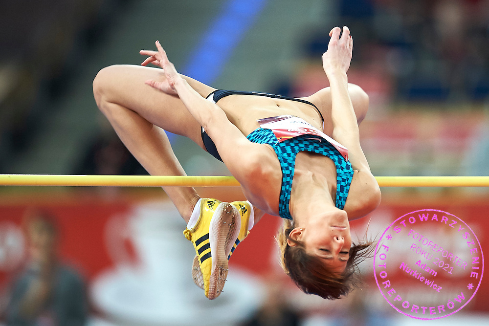 Michalina Kwasniewska from Poland competes in women's high jump competition during athletics meeting Pedro's Cup at Atlas Arena in Lodz, Poland.<br /> <br /> Poland, Lodz, February 17, 2015<br /> <br /> Picture also available in RAW (NEF) or TIFF format on special request.<br /> <br /> For editorial use only. Any commercial or promotional use requires permission.<br /> <br /> Adam Nurkiewicz declares that he has no rights to the image of people at the photographs of his authorship.<br /> <br /> Mandatory credit:<br /> Photo by &copy; Adam Nurkiewicz / Mediasport