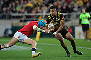 Hurricanes&rsquo; Julian Savea in action during the New Zealand Lions Series - Hurricanes v British and Irish Lions at Westpac Stadium, Wellington, New Zealand on Tuesday 27 June 2017.<br /> Photo by Masanori Udagawa<br /> www.photowellington.photoshelter.com.