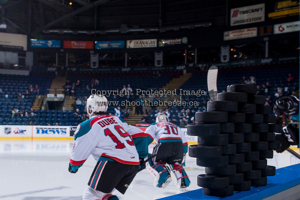 KELOWNA, CANADA - APRIL 14: Dillon Dube #19 of the Kelowna Rockets enter the ice for warm up against the Portland Winterhawks on April 14, 2017 at Prospera Place in Kelowna, British Columbia, Canada.  (Photo by Marissa Baecker/Shoot the Breeze)  *** Local Caption ***