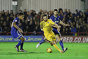Jon Meades of AFC Wimbledon and Lyle Taylor of AFC Wimbledon during Sky Bet League 2 match between AFC Wimbledon and Bristol Rovers at the Cherry Red Records Stadium, Kingston, England on 26 December 2015. Photo by Stuart Butcher.