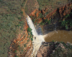 Aerial view of Reva Falls in the King Leopold Range in the wet season.