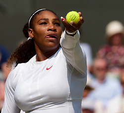 LONDON, ENGLAND - Thursday, July 12, 2018: Serena Williams (USA) during the Ladies' Singles Semi-Final match on day ten of the Wimbledon Lawn Tennis Championships at the All England Lawn Tennis and Croquet Club. (Pic by Kirsten Holst/Propaganda)