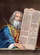 Moses, after 40 days absence, comes down from the mountain with the Ten Commandments.  Bible: Exodus 34.  Chromolithograph c1860