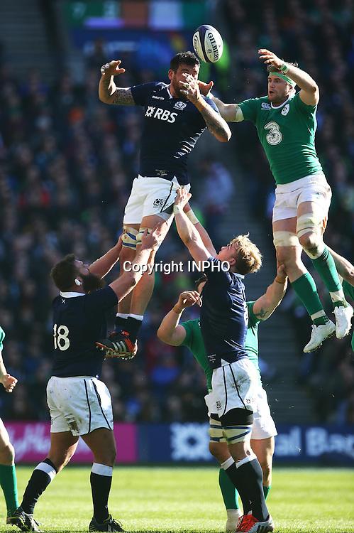RBS 6 Nations Championship, BT Murrayfield, Edinburgh, Scotland 21/3/2015<br /> Scotland vs Ireland<br /> Scotland's Jim Hamilton and Jamie Heaslip Ireland<br /> Mandatory Credit &copy;INPHO/Cathal Noonan