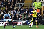 Mark Sykes (18) of Oxford United takes on Felipe Anderson (8) of West Ham United during the EFL Cup match between Oxford United and West Ham United at the Kassam Stadium, Oxford, England on 25 September 2019.