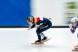 Xandra Velzeboer in action on the 1500 meter during ISU World Cup Finals Shorttrack 2020 on February 15, 2020 in Optisport Sportboulevard Dordrecht.