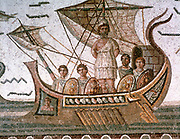 Odysseus (Ulysses)  tied to the mast of his ship to save him from the Sirens. Homer 'Odyssey', epic Greek poem.  Roman mosaic, 3rd century AD, Tunis.