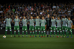 February 28, 2019 - Valencia, Valencia, Spain - Line up Betis (L-R) William, Mandi, Joaquin, Sergio Canales,Marc Bartra, Lo Celso, Joel, Jese,Francis, Sidnei andAndres Guardado during the Copa del Rey Semi Final match second leg between Valencia CF and Real Betis Balompie at Mestalla Stadium in Valencia, Spain on February 28, 2019. (Credit Image: © Jose Breton/NurPhoto via ZUMA Press)