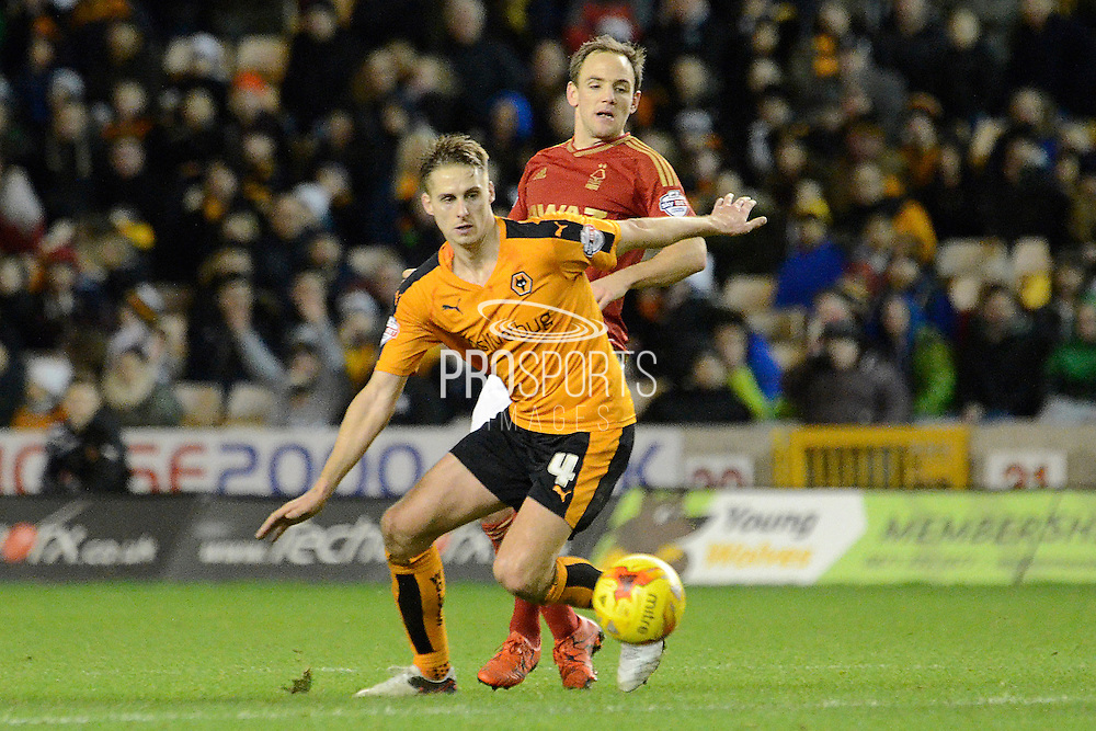 Wolverhampton Wanderers midfielder Dave Edwards in action during the Sky Bet Championship match between Wolverhampton Wanderers and Nottingham Forest at Molineux, Wolverhampton, England on 11 December 2015. Photo by Alan Franklin.