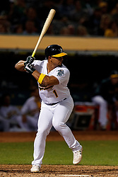 OAKLAND, CA - SEPTEMBER 21: Franklin Barreto #1 of the Oakland Athletics at bat against the Texas Rangers during the seventh inning at the RingCentral Coliseum on September 21, 2019 in Oakland, California. The Oakland Athletics defeated the Texas Rangers 12-3. (Photo by Jason O. Watson/Getty Images) *** Local Caption *** Franklin Barreto