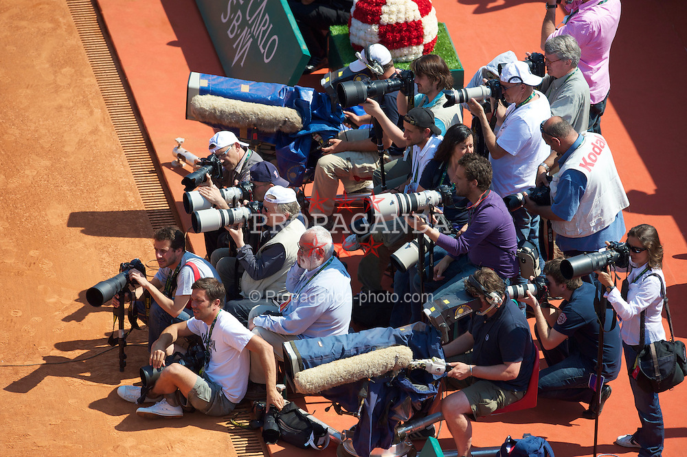 MONTE-CARLO, MONACO - Sunday, April 18, 2010: Photographers during the Men's Singles Final on day seven of the ATP Masters Series Monte-Carlo at the Monte-Carlo Country Club. (Photo by David Rawcliffe/Propaganda)