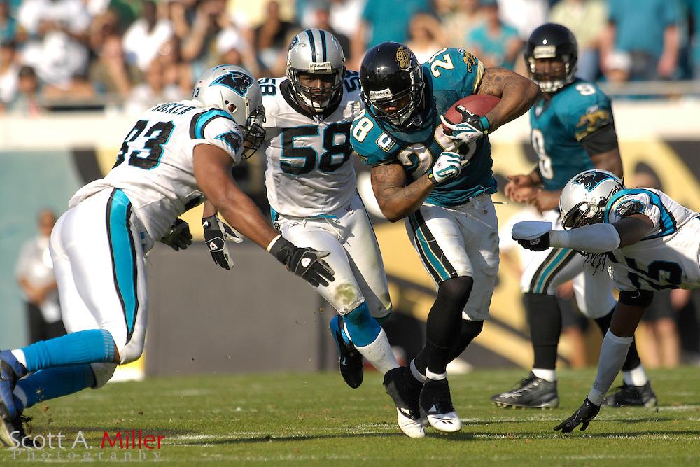 Dec. 9, 2007; Jacksonville, FL, USA;  Jacksonville Jaguars running back Fred Taylor (28) during his team's game against the Carolina Panthers at Jacksonville Municipal Stadium.                        ©2007 Scott A. Miller..©2007 Scott A. Miller