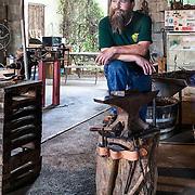 Tiger Flores, blacksmith at Earthen Metals in Elgin, Texas.
