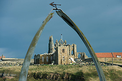 St mary Church and Whitby Abbey Gothic ruined monastery viewed through the  Whalebone arch on the west bay.18 September 2010 .Images © Paul David Drabble