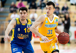 Tjaz Rotar of Hopsi Polzela vs Zan Mark Sisko of Sixt Primorska during basketball match between KK Sixt Primorska and KK Hopsi Polzela in final of Spar Cup 2018/19, on February 17, 2019 in Arena Bonifika, Koper / Capodistria, Slovenia. Photo by Vid Ponikvar / Sportida