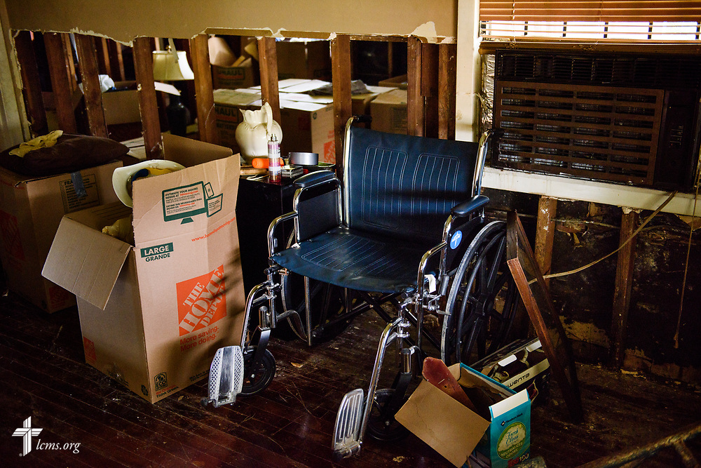 A wheelchair in a house gutted by flood damage from Hurricane Harvey on Tuesday, Sept. 26, 2017, in Houston. LCMS Communications/Erik M. Lunsford