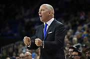 Nov 6, 2019; Los Angeles, CA, USA; UCLA Bruins head coach Mick Cronin reacts during the game against the Long Beach State at Pauley Pavilion. UCLA defeated Long Beach State 69-65 in Cronin's first game as UCLA coach.