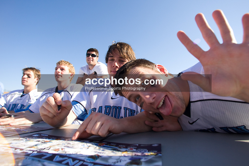 02 March 2008: North Carolina Tar Heels midfielder Joe Howard (30) and defenseman Sean Jackson (33) sign autographs for fans after a 13-8 win over the Cornell Big Red on Fetzer Field in Chapel Hill, NC.