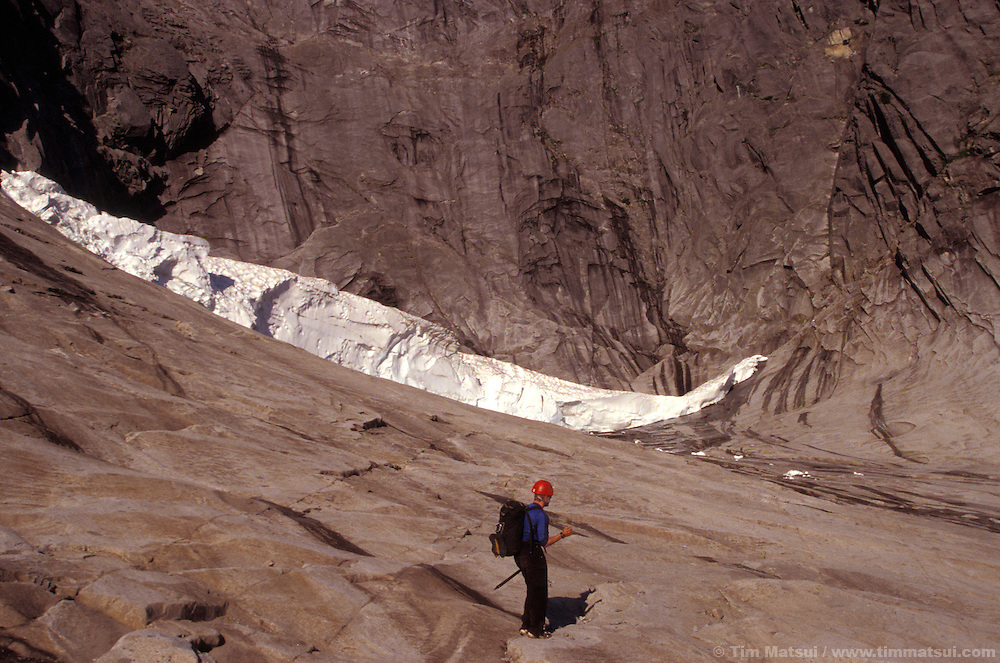 Preparing to run below the pocket glacier at the base of Mt. Slesse's NE Buttress.