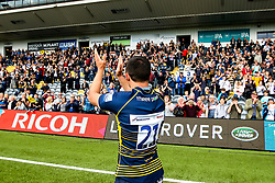 Jonny Arr of Worcester Warriors waves to the crowd after making his last appearance before retirement - Mandatory by-line: Robbie Stephenson/JMP - 18/05/2019 - RUGBY - Sixways Stadium - Worcester, England - Worcester Warriors v Saracens - Gallagher Premiership Rugby