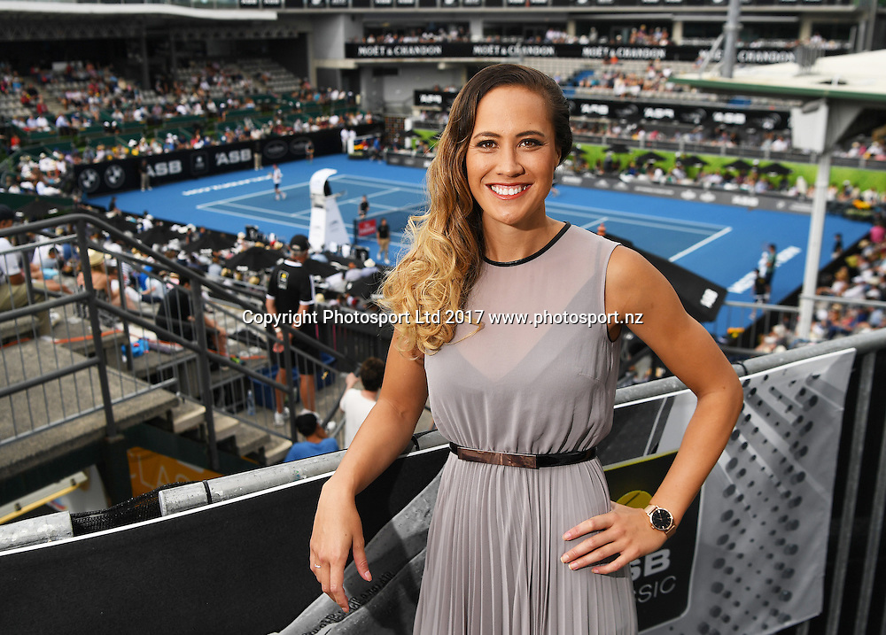 SKY TV presenter Courtney Tairi at the ASB Classic. ATP Mens Tennis Tournament. ASB Tennis Centre, Auckland, New Zealand. Monday 9 January 2017. © Copyright photo: Andrew Cornaga / www.photosport.nz