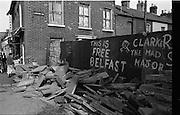 View of Belfast Barricades - Falls Rd + Clonard<br /> 30/08/1969