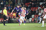 Alex Kenyon on the ball during the Sky Bet League 2 match between Cheltenham Town and Morecambe at Whaddon Road, Cheltenham, England on 16 January 2015. Photo by Shane Healey.