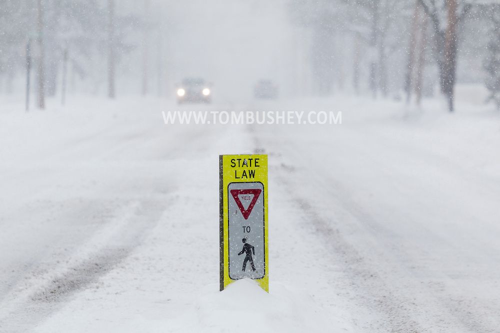 Middletown, New York - A sign on Highland Avenue during a snowstorm on Feb. 9, 2017.