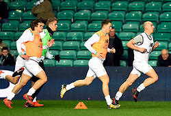 Celtic captain Scott Brown (right) leads his players during the warm up before the Scottish Premiership match at Celtic Park, Glasgow.
