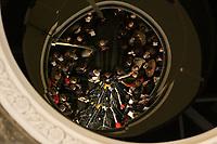 15 DEC 2003, BERLIN/GERMANY:<br /> Edmund Stoiber, CSU, Ministerpraesident Bayern, Angela Merkel, CDU Bundesvorsitzende, und Guido Westerwelle, FDP Bundesvorsizender, (v.L.n.R.), spiegeln sich in einem runden Spiegel an der Decke der Wandelhalle, waehrend der Pressekonferenz zu den Ergebnissen der Sitzung des Vermittlungsausschusses, Bundesrat<br /> IMAGE: 20031215-01-017<br /> KEYWORDS: Pressestatement, Mikrofon, microphone, Journalist, Journalisten