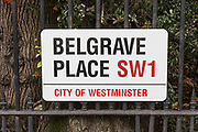 London, England, UK, February 5 2018 - Belgrave Place sign in the Belgravia district, one of the richest area in London.