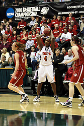 20 March 2010: Zoe Unruh is too far to stop a shot by Philana Greene.The Flying Dutch of Hope College fall to the Bears of Washington University 65-59 in the Championship Game of the Division 3 Women's NCAA Basketball Championship the at the Shirk Center at Illinois Wesleyan in Bloomington Illinois.