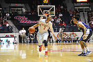 """Ole Miss Rebels guard Terence Smith (3) vs. TCU at the C.M. """"Tad"""" Smith Coliseum in Oxford, Miss. on Thursday, December 4, 2014. TCU won 66-54."""