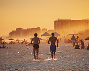 The beaches of Rio de Janeiro at sunset have a particular vibe. Here on the beach of Barra and the Praia do Pepê is very different to the more well known Copacabana and Ipanema stretches. The sea mist and setting sun add that fabulous glow to the air.