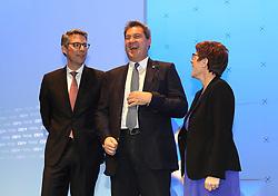 19.01.2019, Kleine Olympiahalle, Muenchen, GER, CSU Parteitag in München, im Bild Viel Spass hat Markus Söder mit Annegret Kramp-Karrenbauer, links Markus Blume // during the CSU party congress at the Kleine Olympiahalle in Muenchen, Germany on 2019/01/19. EXPA Pictures © 2019, PhotoCredit: EXPA/ SM<br /> <br /> *****ATTENTION - OUT of GER*****