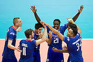 (R) Mory Sidibe from France with his team mates celebrate winning point during the 2013 CEV VELUX Volleyball European Championship match between France and Turkey at Ergo Arena in Gdansk on September 22, 2013.<br /> <br /> Poland, Gdansk, September 22, 2013<br /> <br /> Picture also available in RAW (NEF) or TIFF format on special request.<br /> <br /> For editorial use only. Any commercial or promotional use requires permission.<br /> <br /> Mandatory credit:<br /> Photo by © Adam Nurkiewicz / Mediasport