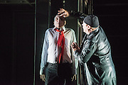 14/02/2013. London, UK. Eugène Ionesco's Rhinocéros is one of the major Absurdist plays of the 20th century. As compelling as ever, it warns against totalitarianism and the destructive power of the collective. Théâtre de la Ville's production has wowed critics and audiences across France and the USA with its spectacular set and gripping performances. Picture shows: Serge Maggiani & Hugues Questor.