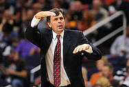 Feb. 9, 2012; Phoenix, AZ, USA; Houston Rockets head coach Kevin McHale reacts from the sidelines while playing against the Phoenix Suns during the first half at the US Airways Center. The Rockets defeated the Suns 96-89. Mandatory Credit: Jennifer Stewart-US PRESSWIRE.