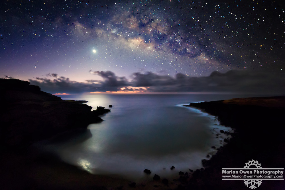 Milky Way Over Venus, Papakolea Beach, Hawaii