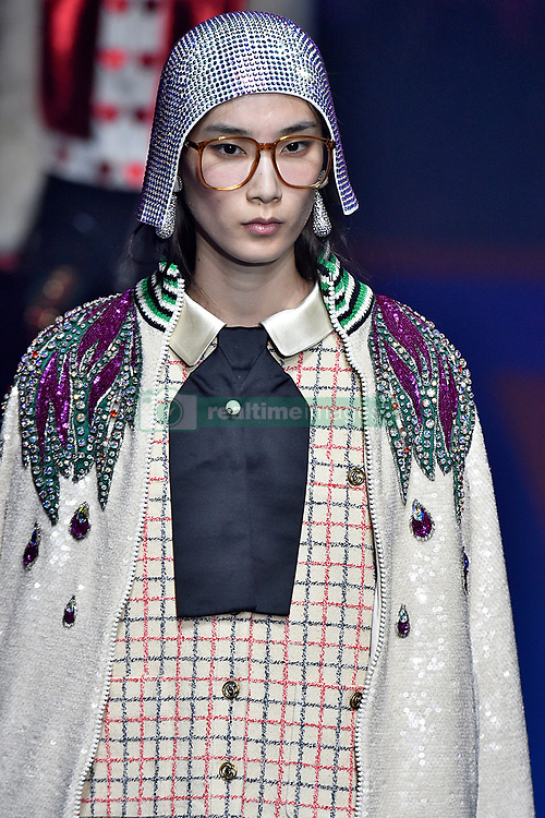Model Dylan Xue walks on the runway during the Gucci Fashion Show during Milan Fashion Week Spring Summer 2018 held in Milan, Italy on September 20, 2017. (Photo by Jonas Gustavsson/Sipa USA)