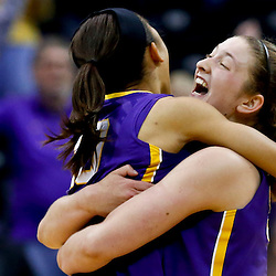 Mar 26, 2013; Baton Rouge, LA, USA; LSU Tigers forward Theresa Plaisance (55) and guard Adrienne Webb (10) celebrate after a win over the against the Penn State Lady Lions during the second round of the 2013 NCAA womens basketball tournament at Pete Maravich Assembly Center. LSU defeated Penn State 71-66. Mandatory Credit: Derick E. Hingle-USA TODAY Sports