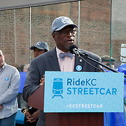 Mayor Sly James at ribbon cutting ceremony for the first completed Kansas City Streetcar platform at 16th & Main Streets, downtown Kansas City, MIssouri on April 24th, 2015.