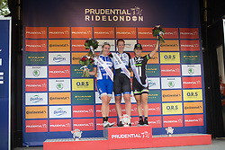 Kirsten Wild (NED) of Hitec Products Cycling Team (middle) celebrates her win with Nina Kessler (NED) of Lensworld Zannata Cycling Team (left) and Leah Kirchmann (CAN) (CAN) of Liv-Plantur Cycling Team (right) on the podium the Prudential RideLondon Classique, a 66 km road race in London on July 30, 2016 in the United Kingdom.