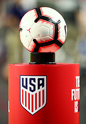 January 27, 2019 - Glendale, AZ, U.S. - GLENDALE, AZ - JANUARY 27: The game ball rests on a stand before the international friendly between the United States Men's National Team and Panama on January 27th, 2019 at State Farm Stadium in Glendale, AZ (Photo by Adam Bow/Icon Sportswire) (Credit Image: © Adam Bow/Icon SMI via ZUMA Press)