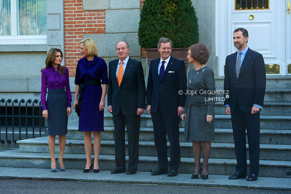 Spanish King Juan Carlos, Queen Sofia, Prince Felipe and Princess Letizia attend a Meet with the President of the Federal Republic of Germany, Mr. Christian Wulff and his wife, Bettina Wulf at Zarzuela Palace in Madrid