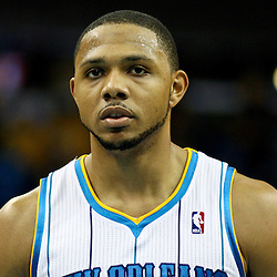 December 21, 2011; New Orleans, LA, USA; New Orleans Hornets shooting guard Eric Gordon (10) against the Memphis Grizzlies during the second half of a preseason game at the New Orleans Arena. The Hornets defeated the Grizzlies 95-80.  Mandatory Credit: Derick E. Hingle-US PRESSWIRE